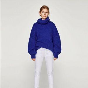 Zara cobalt blue roll neck jumper. Size M